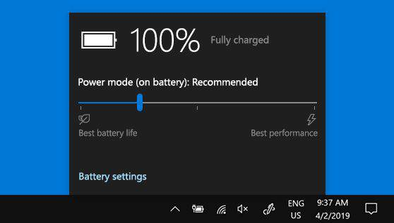 (Windows) Clicking on the battery icon brings up power options.