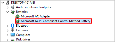 Uninstalling Microsoft ACPI-compliant battery driver in Device Manager.