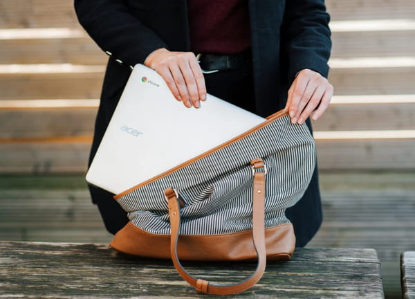 Lightweight laptops like Chromebooks are great for travelling.