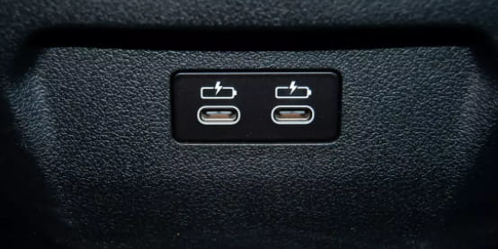 USB Type-C ports inside a Car. You can charge your laptop through this prot.